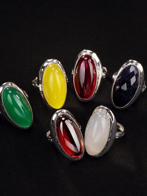 DEER 925 Sterling Silver Jade Oval Luxury Band Ring 1