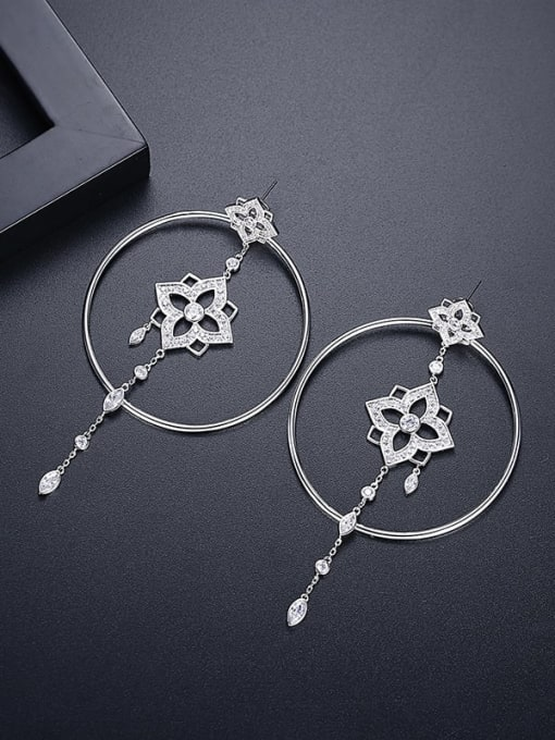 Platinum t05c25 Brass Cubic Zirconia Geometric Ethnic Threader Earring