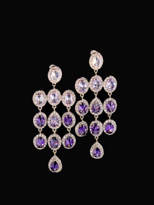 Purple zirconium Brass Cubic Zirconia Tassel Statement Drop Earring