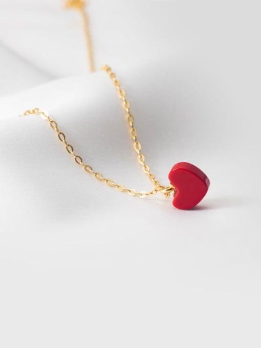 Rosh 925 Sterling Silver Enamel Heart Minimalist Necklace 2