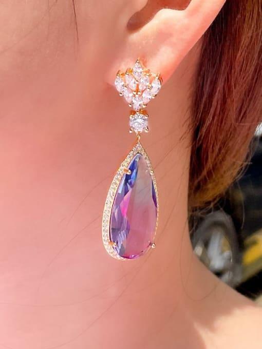 L.WIN Brass Cubic Zirconia Water Drop Luxury Drop Earring 2