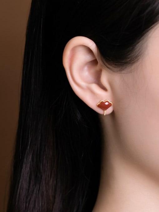 DEER 925 Sterling Silver Carnelian Leaf Vintage Stud Earring 1