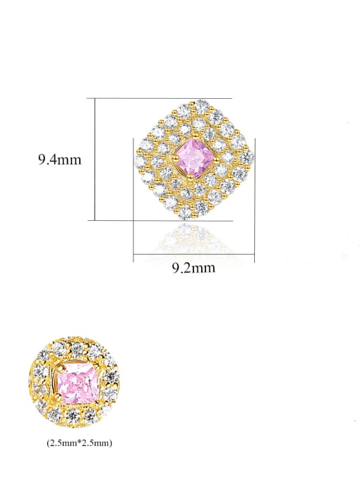 CCUI 925 Sterling Silver Cubic Zirconia Square Luxury Stud Earring 4