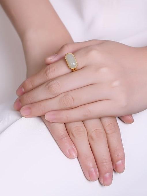 DEER 925 Sterling Silver Jade Geometric Minimalist Band Ring 1