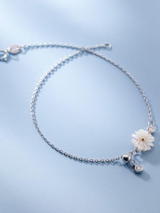 Rosh 925 Sterling Silver Shell  Flower Minimalist Anklet