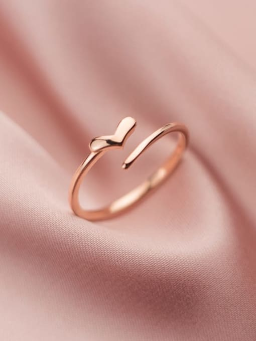 Rosh 925 Sterling Silver Heart Minimalist Band Ring 0