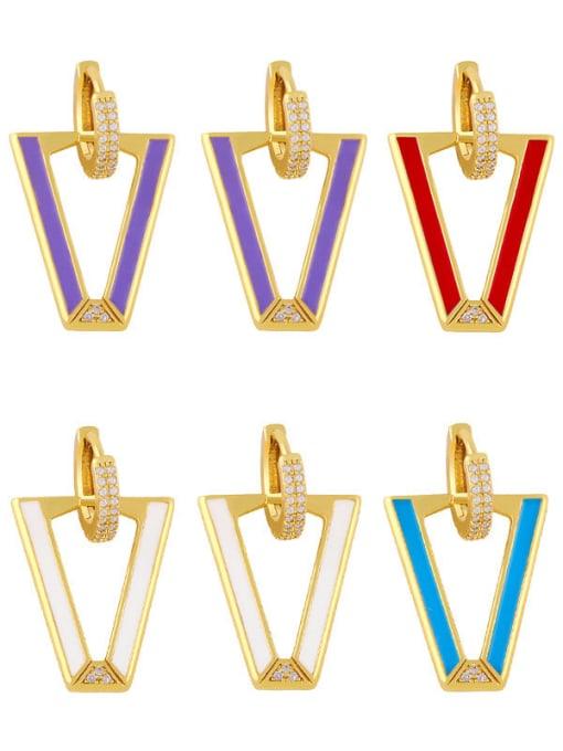 CC Brass Enamel Triangle Hip Hop Stud Earring 0
