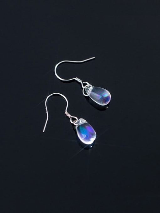 Rosh 925 Sterling Silver Water Drop Minimalist Hook Earring 2