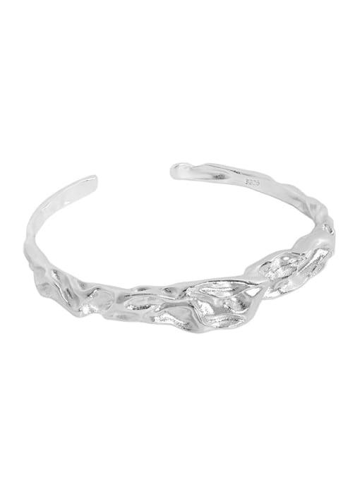 silvery 925 Sterling Silver Irregular Minimalist Cuff Bangle