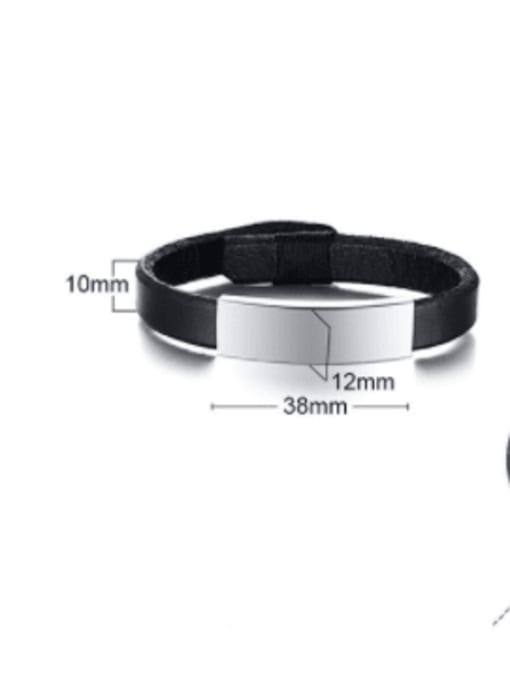 CONG Stainless steel Leather Geometric Minimalist Bracelet 2