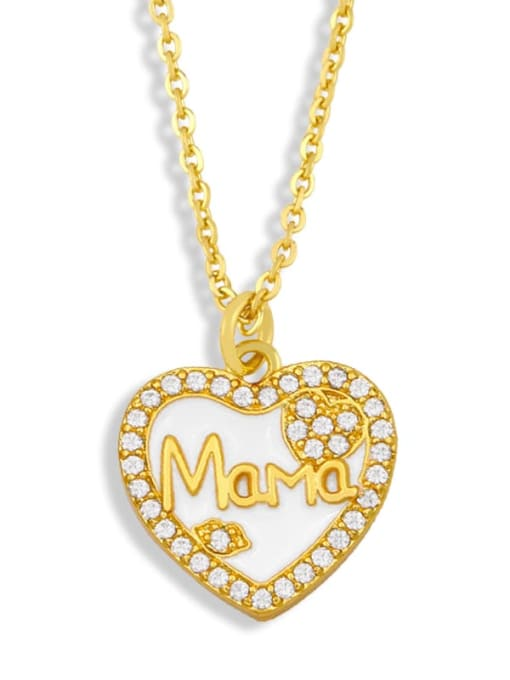 CC Brass Enamel Heart Vintage Necklace