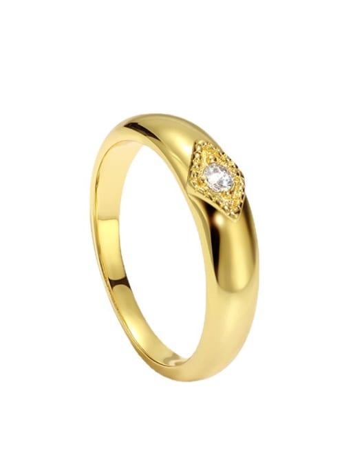 CHARME Brass Cubic Zirconia Round Minimalist Band Ring 3