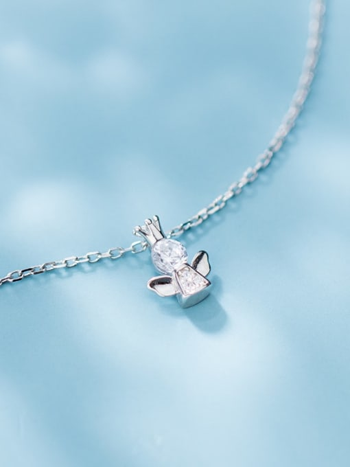 Rosh 925 Sterling Silver Cubic Zirconia Angel Cute Necklace 1