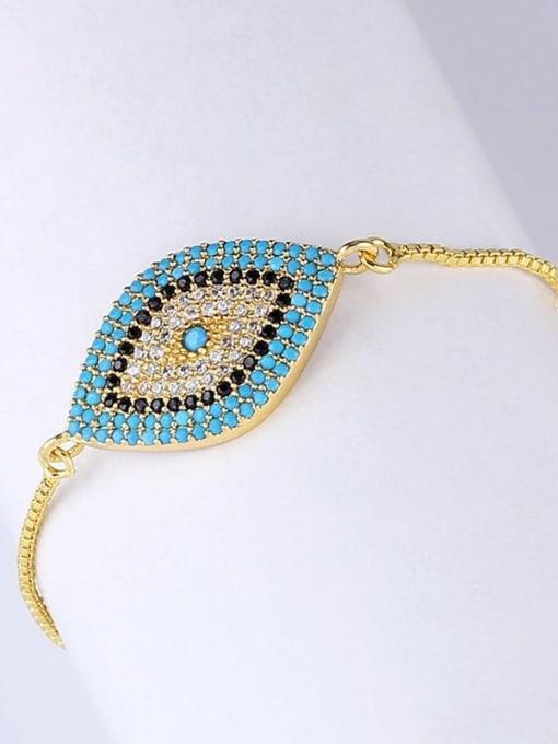 CC Brass Cubic Zirconia Evil Eye Bohemia Link Bracelet 2