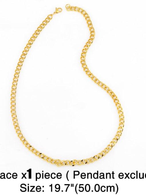 CC Brass Hollow Geometric Chain Minimalist Necklace 2