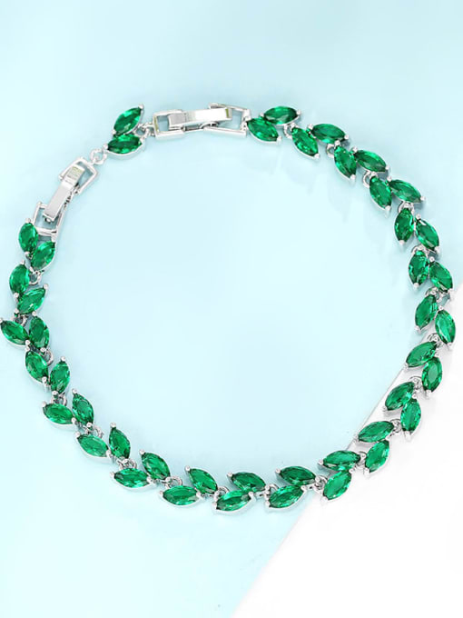 Platinum gold green Brass Cubic Zirconia Multi Color Leaf Dainty Bracelet
