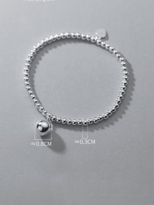 Rosh 925 Sterling Silver Bead Smiley Minimalist Beaded Bracelet 2