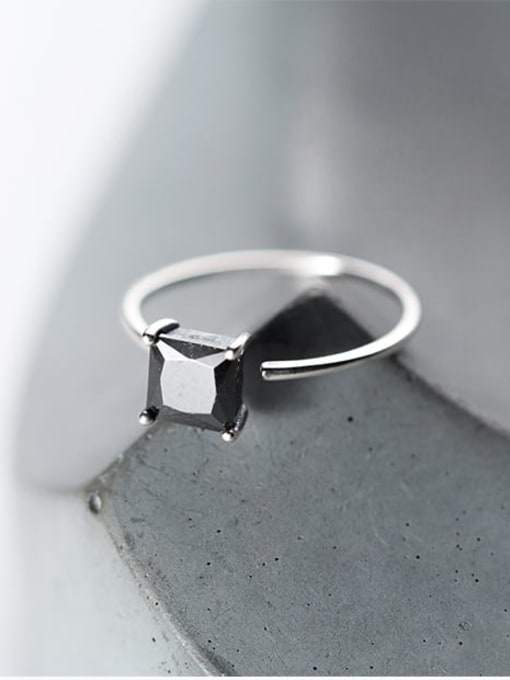 Rosh 925 Sterling Silver Cubic Zirconia Geometric Vintage Band Ring 2