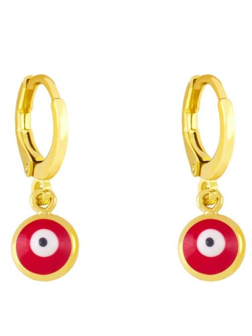 gules Brass Enamel Evil Eye Minimalist Huggie Earring