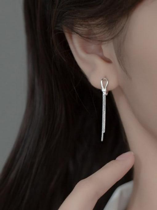 Rosh 925 Sterling Silver Tassel Minimalist Threader Earring 1