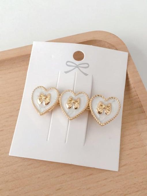 Heart shaped white Alloy Enamel Minimalist Heart  Round Bow-Knot Hair Barrette