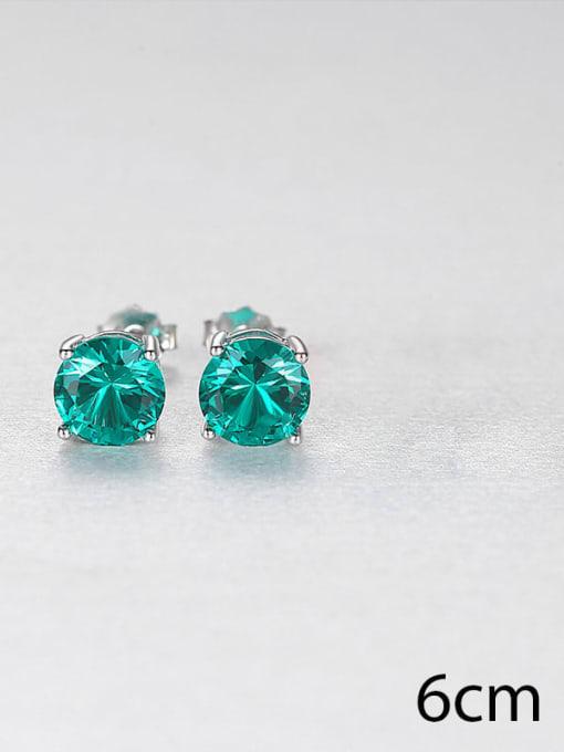 green  0.6 925 Sterling Silver Cloisonne Geometric Minimalist Stud Earring