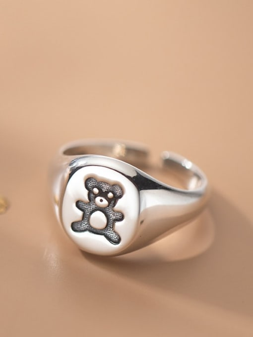 Rosh 925 Sterling Silver Bear Cute Band Ring 2