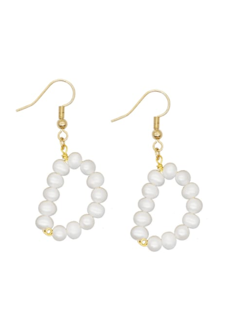 Roxi Stainless steel Freshwater Pearl Letter Ethnic Drop Earring