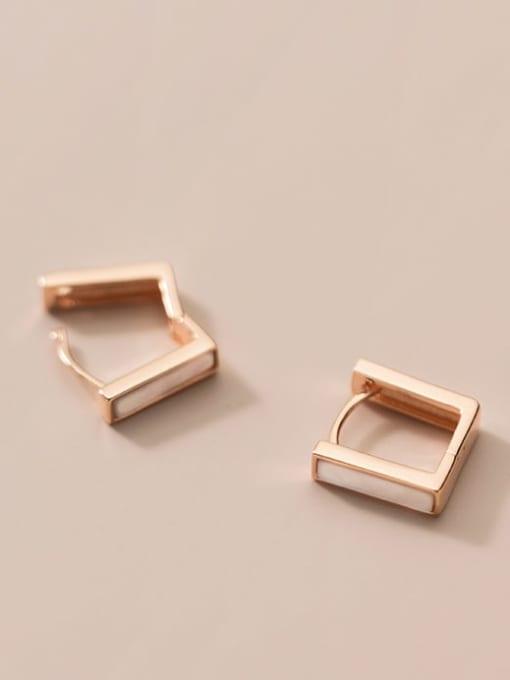 Rosh 925 Sterling Silver Shell Geometric Minimalist Stud Earring 2