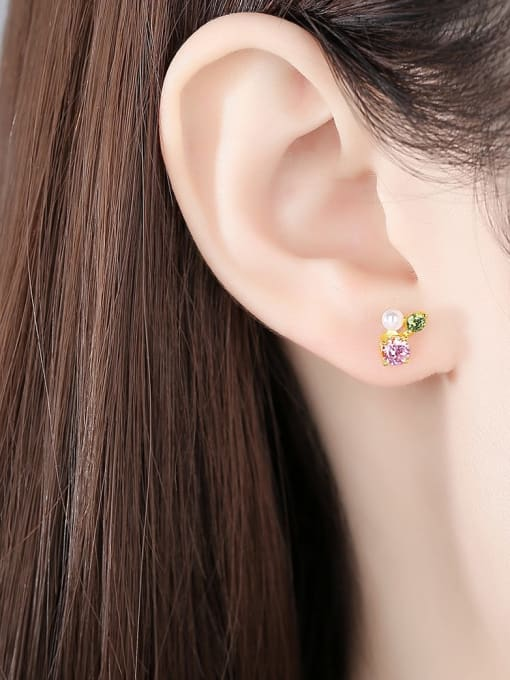 CCUI 925 Sterling Silver Cubic Zirconia Flower Cute Stud Earring 1