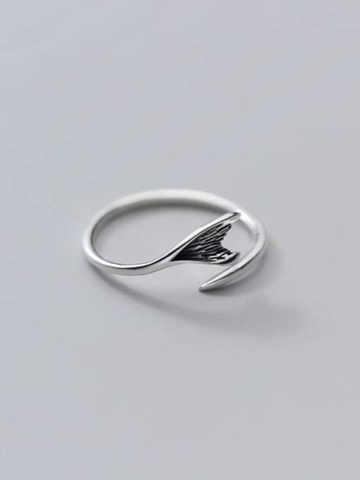 Rosh 925 Sterling Silver Fish tail Vintage Band Ring 0