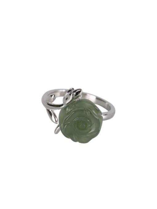 DEER 925 Sterling Silver Jade Flower Cute Band Ring