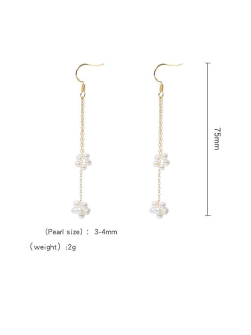 RAIN Brass Freshwater Pearl Geometric Minimalist Hook Earring 4