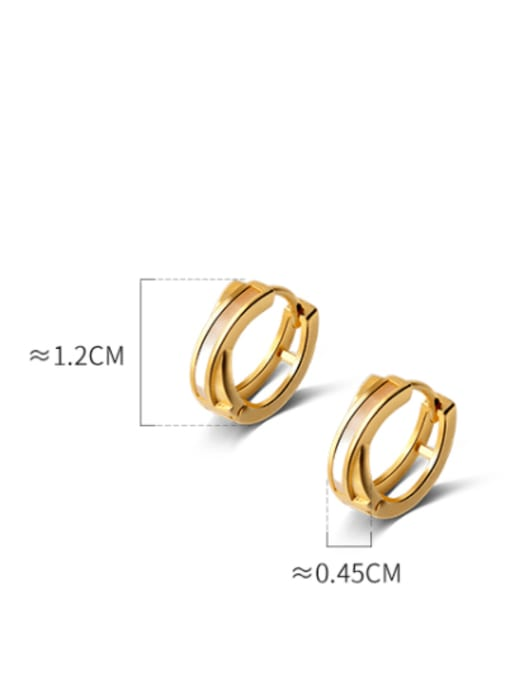 Rosh 925 Sterling Silver Shell Round Minimalist Huggie Earring 3