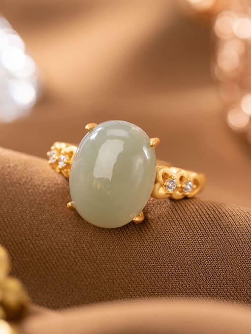 Blue jade 925 Sterling Silver Jade Oval Vintage Band Ring