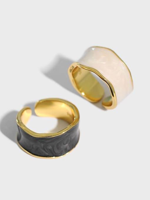 Dak Phoenix 925 Sterling Silver Enamel Irregular Minimalist Band Ring 0