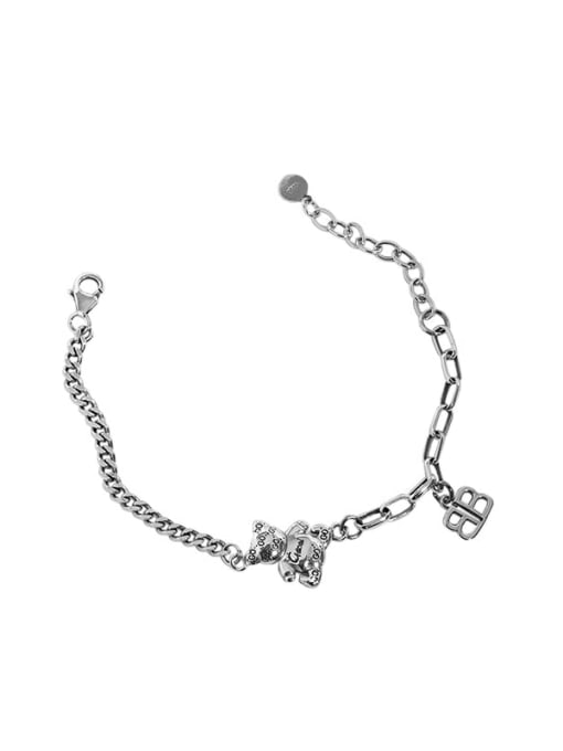 Taiyin 925 Sterling Silver Bear Vintage Hollow Chain Link Bracelet