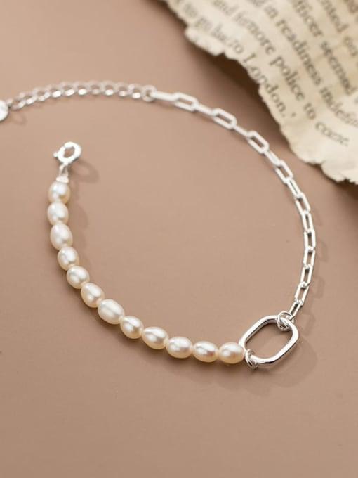 Rosh 925 Sterling Silver Freshwater Pearl Asymmetry Geometric Minimalist Link Bracelet 2