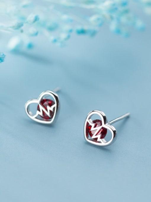 Rosh 925 Sterling Silver Cubic Zirconia Heart Minimalist Stud Earring 0