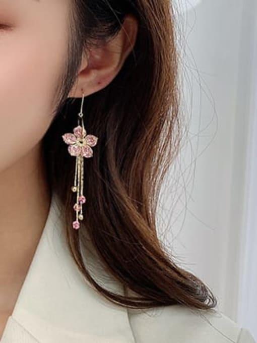 Luxu Brass Cubic Zirconia Flower Minimalist Hook Earring 1