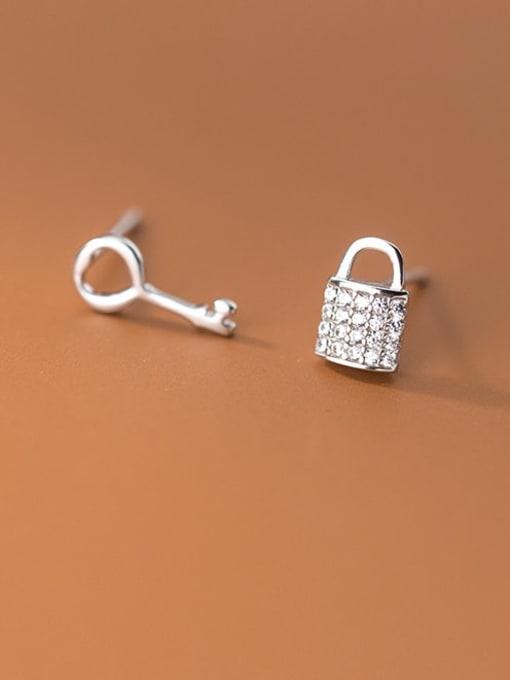 Rosh 925 Sterling Silver Cubic Zirconia Key Cute Stud Earring