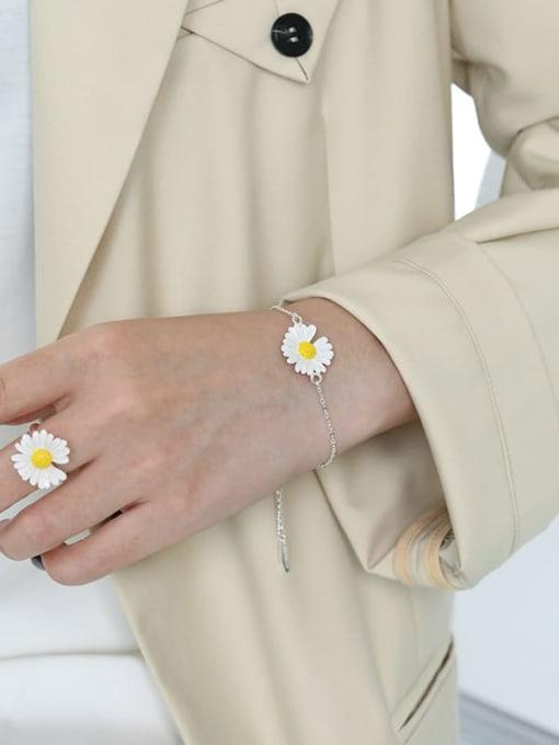 DAKA 925 Sterling Silver Enamel Flower Minimalist Link Bracelet 1