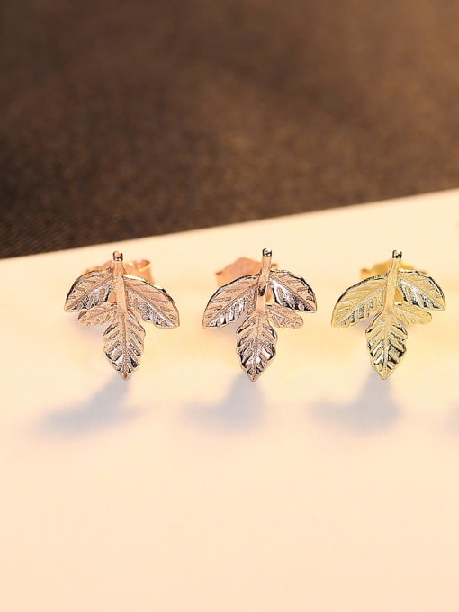 CCUI 925 Sterling Silver Leaf Minimalist Stud Earring 1