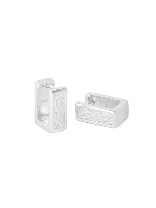 silvery 925 Sterling Silver Geometric Minimalist Stud Earring
