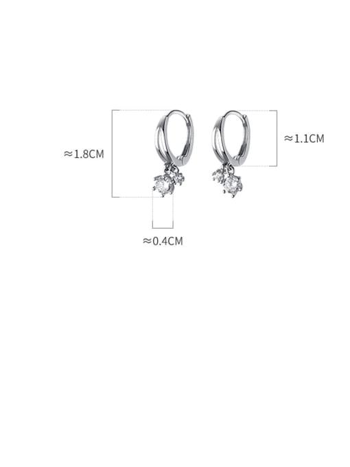 Rosh 925 Sterling Silver Cubic Zirconia Round Minimalist Huggie Earring 4