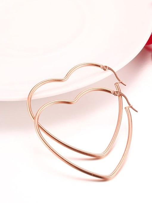 CONG Stainless steel Heart Minimalist Hoop Earring 3