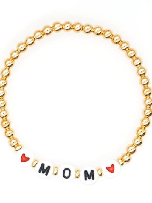 QT B200015K Stainless steel Bead Acrylic Letter Bohemia Beaded Bracelet