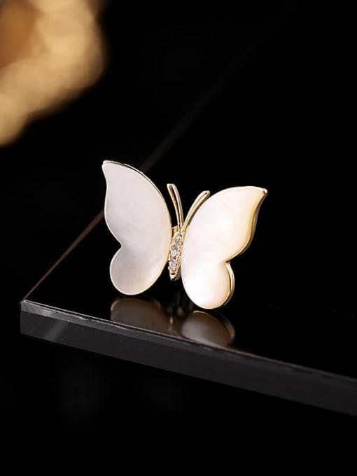 Luxu Brass Cats Eye Butterfly Minimalist Brooch 3