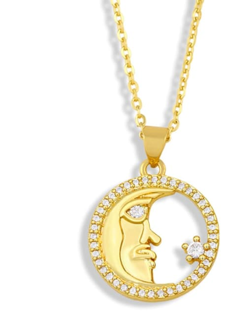 C Brass Cubic Zirconia Letter Vintage Necklace