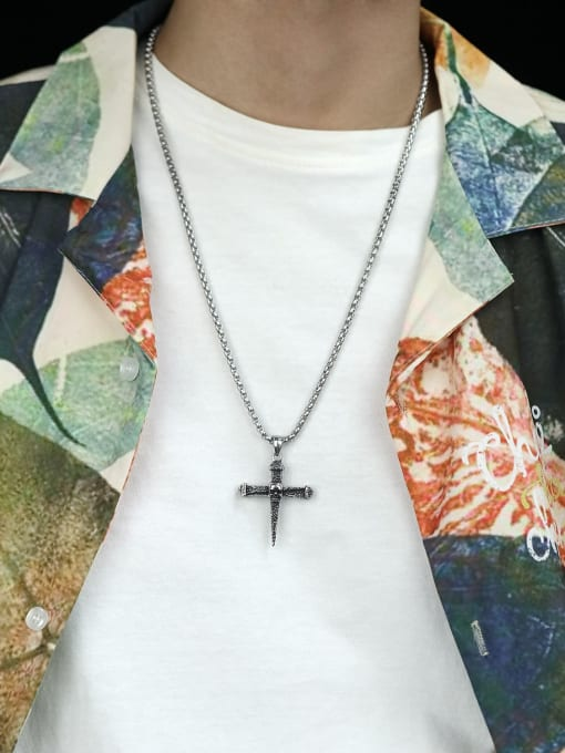 Open Sky Titanium Steel Turquoise Cross Hip Hop Necklace 2